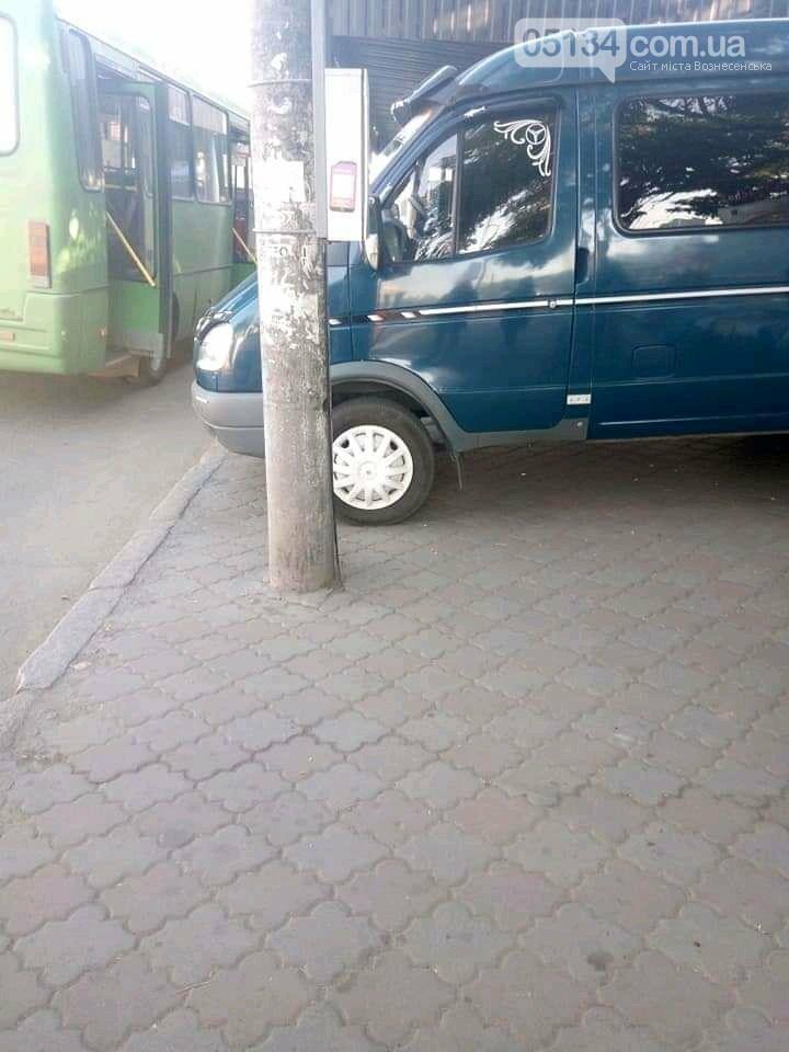 Парковка без правил: у Вознесенську водій припаркувався просто на автобусній зупинці, фото-1